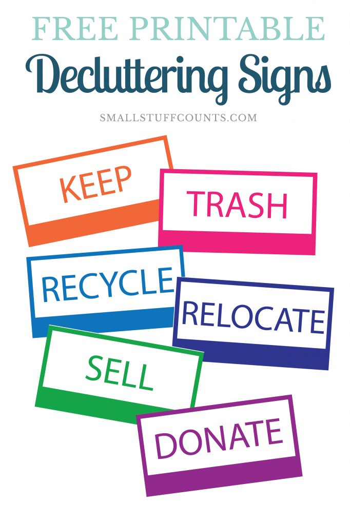 On a mission to declutter your house? Download these free printable decluttering signs to use when you're sorting through all of the stuff. I like to laminate the signs and attach them to boxes when I'm organizing a space.