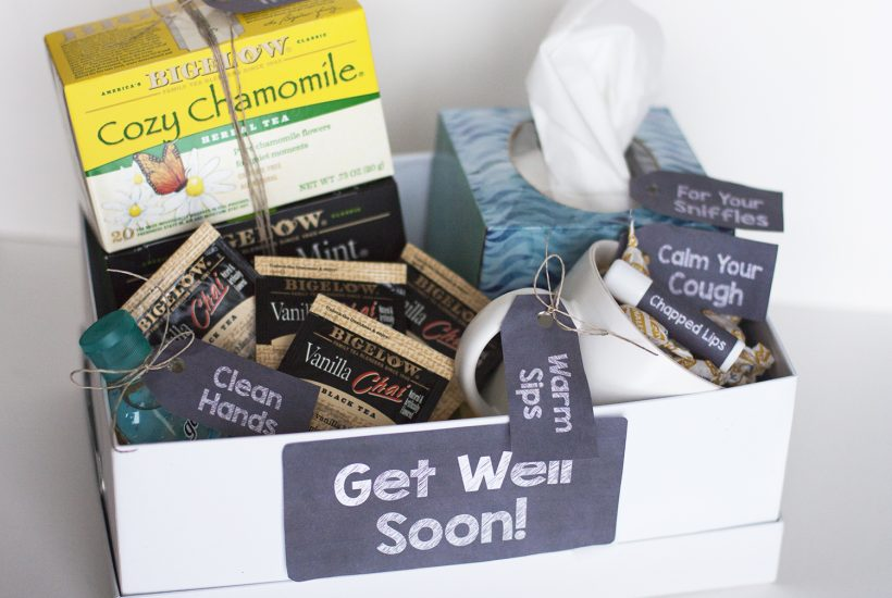 DIY Get Well Gift Basket (With Printable Gift Tags)
