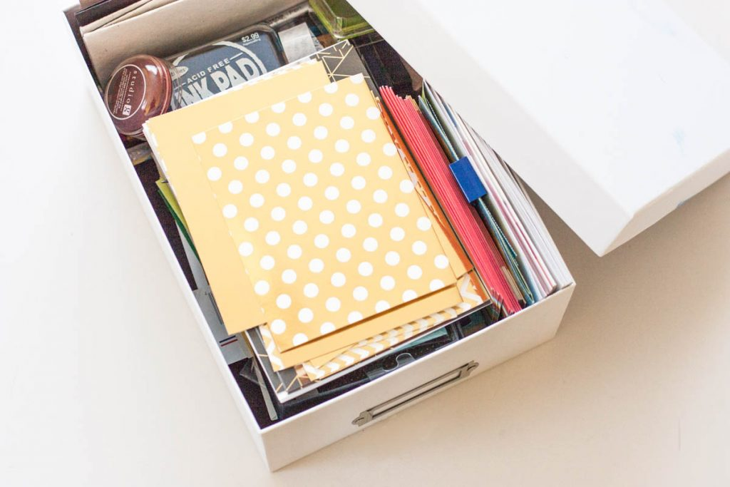 Need an easy way to organize greeting cards? Try a shoe box!