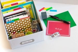 Looking for an easy way to organize greeting cards? This organized greeting card box is a simple solution that is inexpensive and quick to implement.