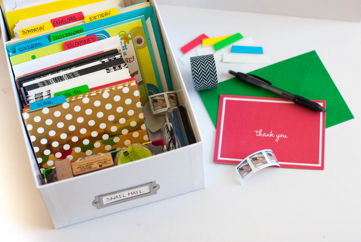 A diy greeting card organizer looking for an easy way to organize greeting cards this organized greeting card box is kristyandbryce Choice Image