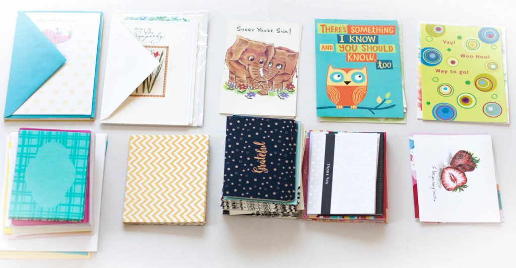 Organize greeting cards by occasion inside this DIY organizer box.