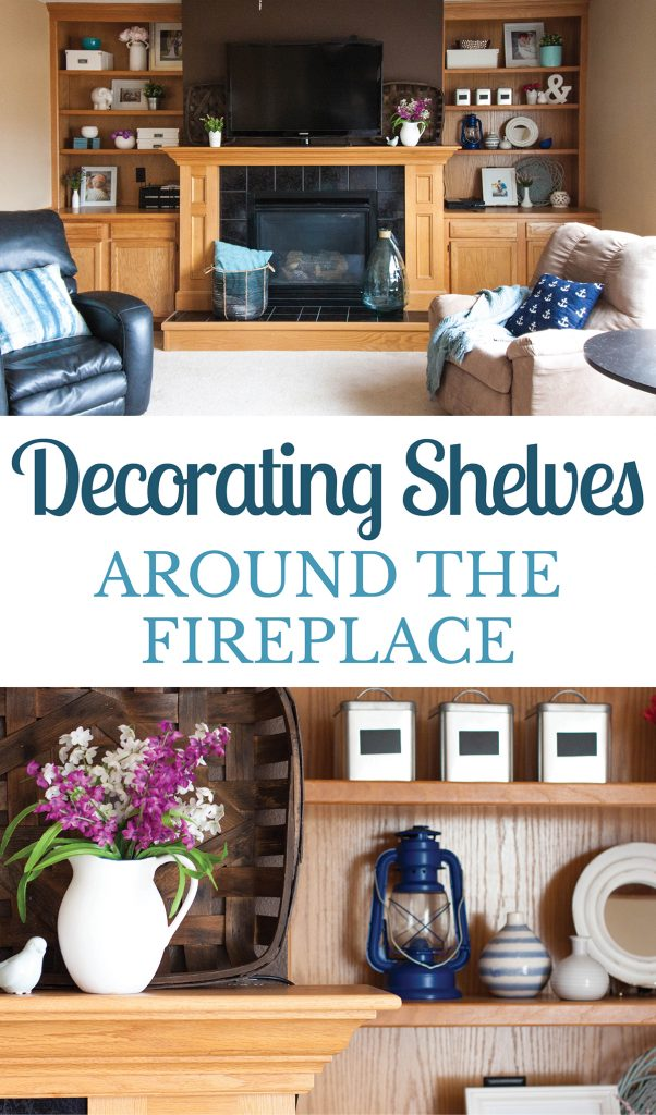 Decorating Shelves Around The Fireplace For Spring Small