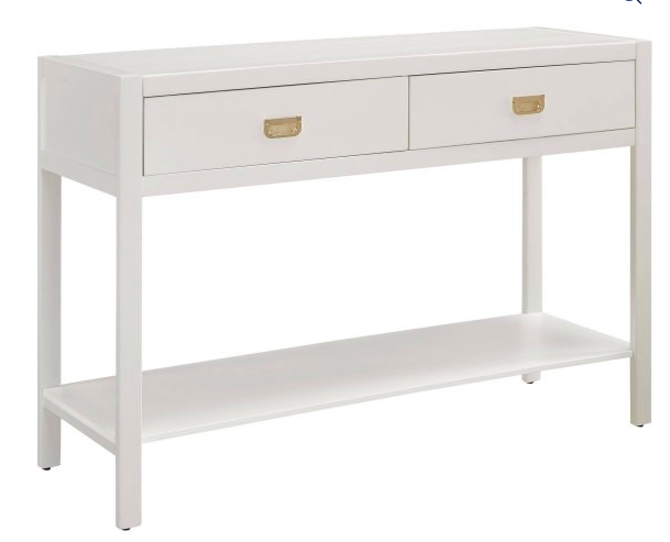 White console table for an entryway