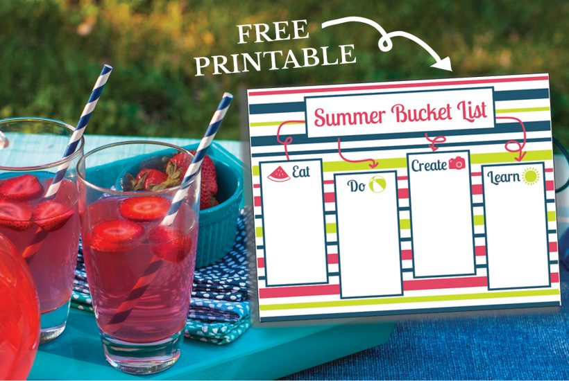 A Free Printable Summer Bucket List