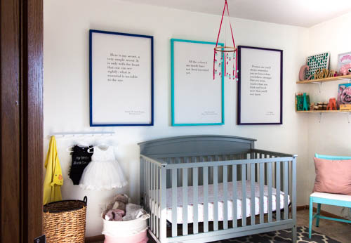 colorful-diy-picture-frames-with-large-canvas-art-hanging-above-crib