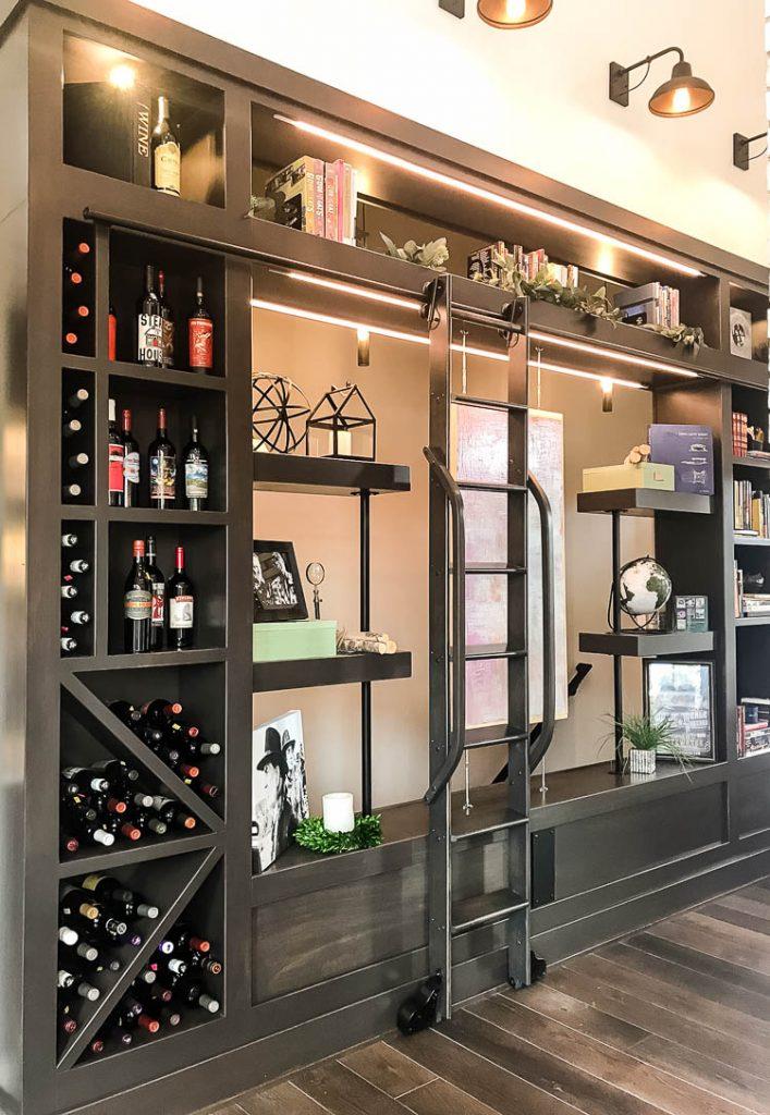 shelves-along-basement-stairs