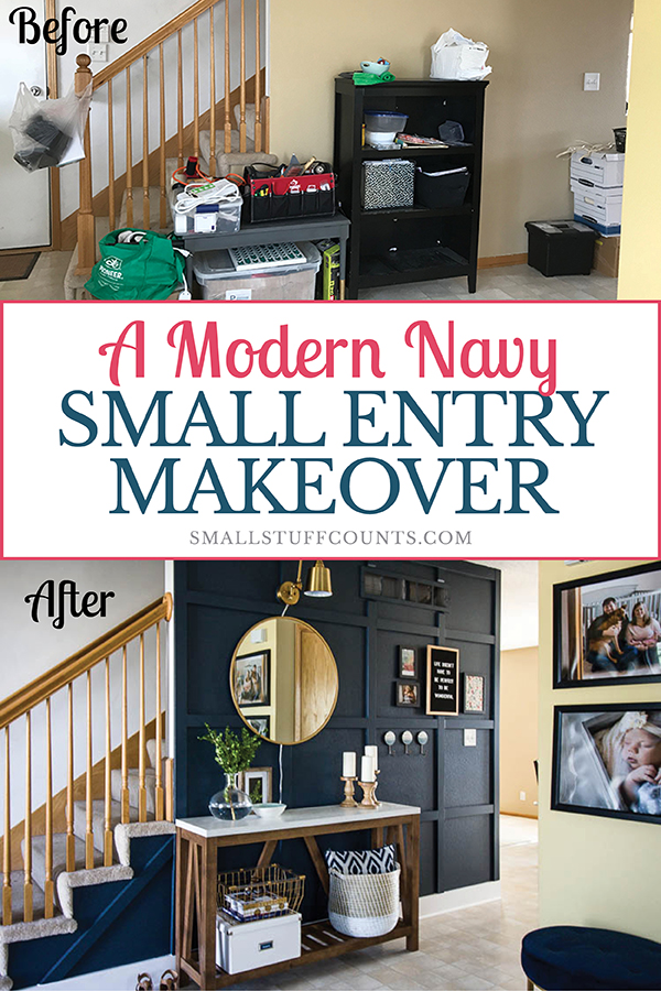 small-entryway-makeover-with-navy-wall