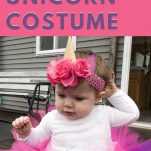 baby in unicorn costume with text overlay