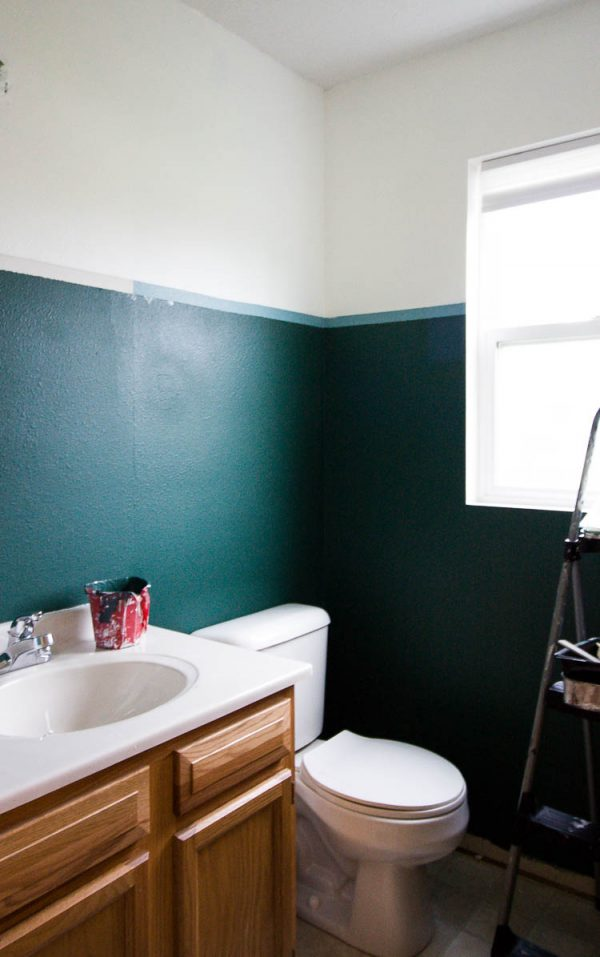 painting-a-small-bathroom-dark-green