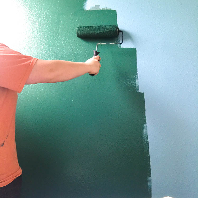 painting-a-wall-dark-green