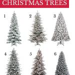 6 flocked christmas trees