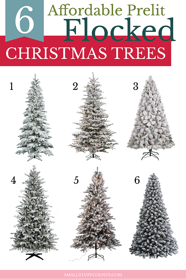 affordable-prelit-flocked-christmas-trees