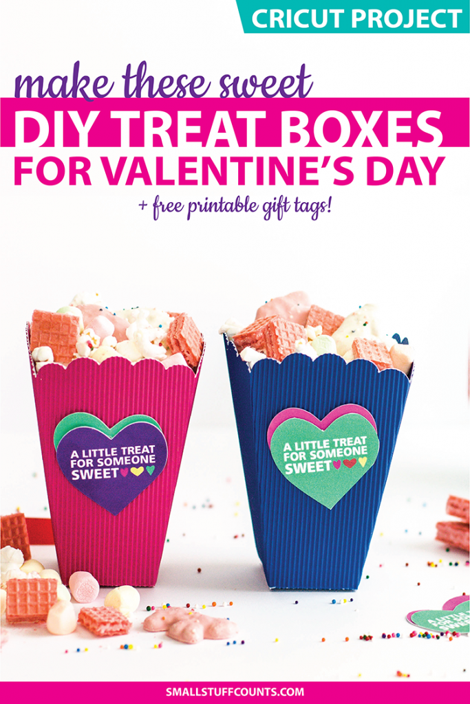 photo about Printable Popcorn Boxes known as Vibrant Do it yourself Valentine Popcorn Bins and Printable Valentine
