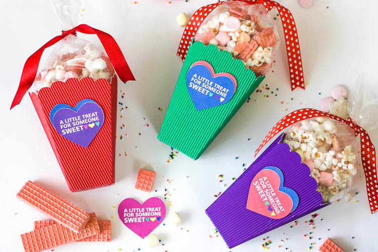 graphic regarding Popcorn Valentine Printable titled Vibrant Do-it-yourself Valentine Popcorn Bins and Printable Valentine