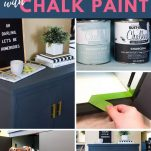 collage of images of painting an old cabinet