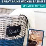 before and after images of wicker basket makeover