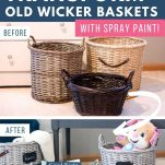 before and after photos of painted basket makeover
