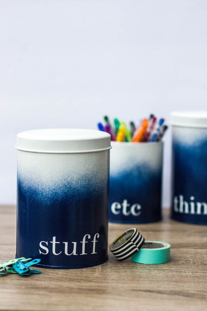blue-and-white-ombre-painted-tin-containers