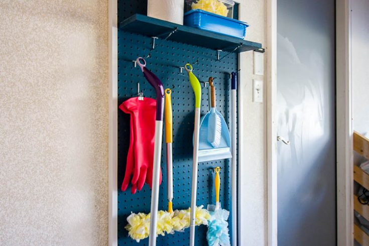 DIY Garage Pegboard Organizer For Cleaning Supplies