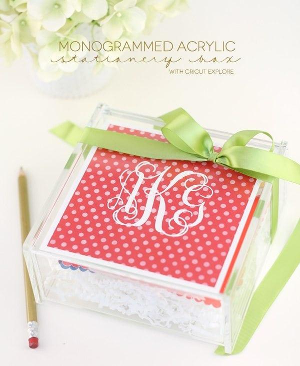 Acrylic Monogrammed Stationery Box
