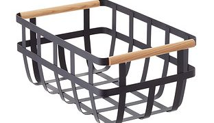Black Tosca Basket with Wooden Handles