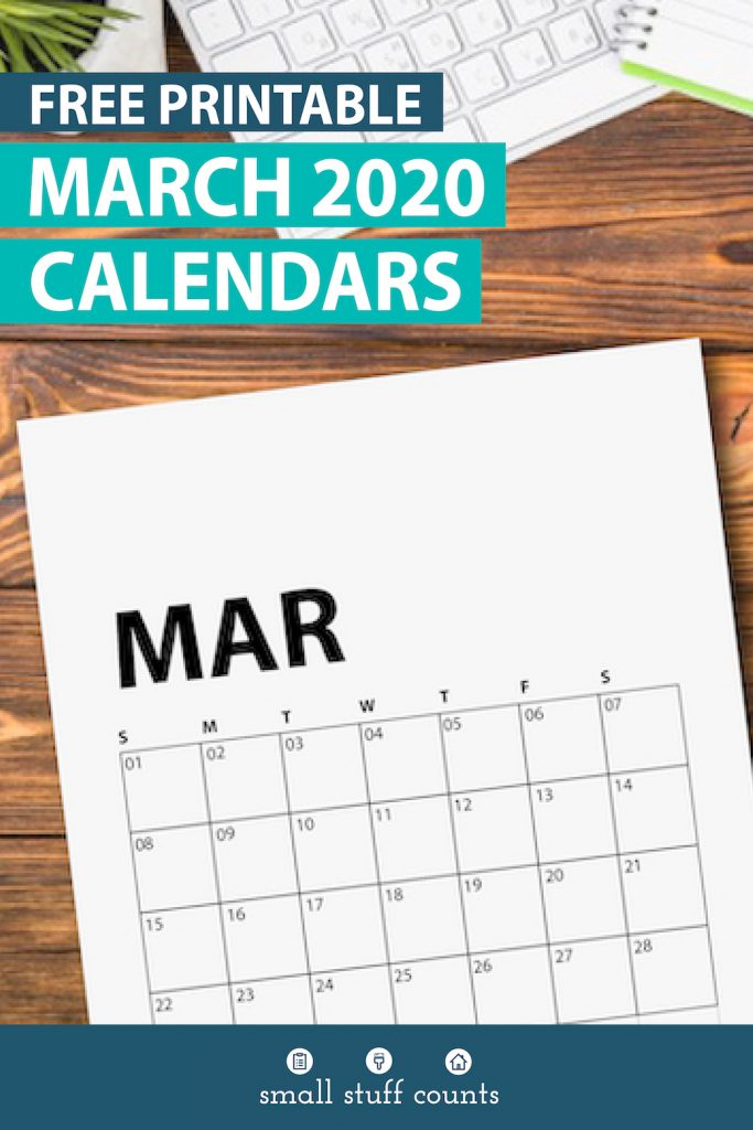 Flatlay desktop image with picture of free printable march 2020 calendar on top.