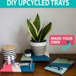 painted diy trays made from old cabinet doors styled with plant on table