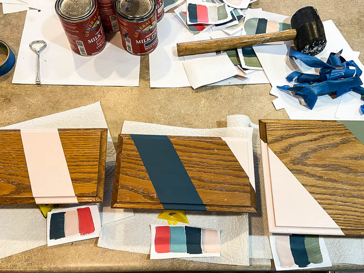 stripes painted on old cabinet door turned diy tray