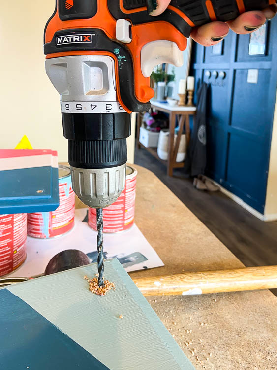 drilling hole for handles on wooden tray