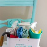 pretty organized cleaning supplies on chair