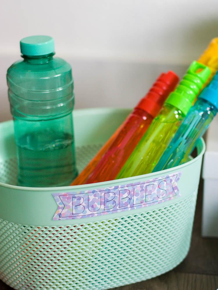 """aqua basket with """"bubbles"""" label"""
