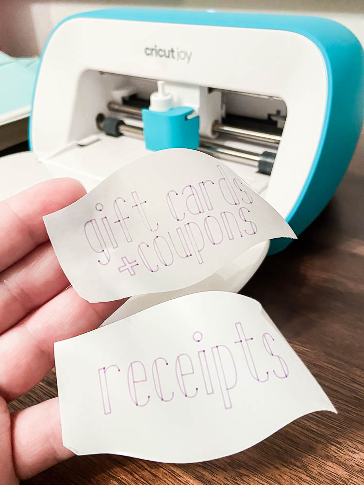 finger holding office labels made with Cricut Joy