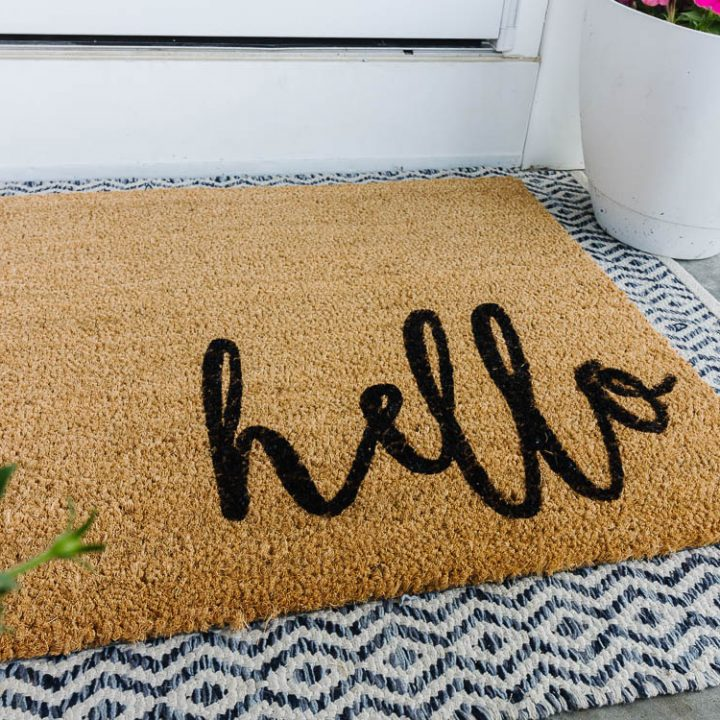 coir welcome mat with hello painted in black