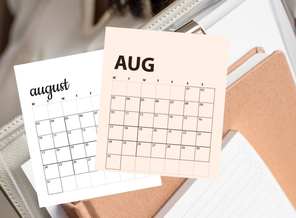 August calendars overlaying image of stack of office papers