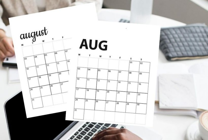 august 2020 calendars overlaying people working on laptops