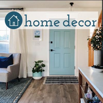 modern front room with blue front door