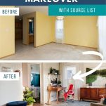 before and after images of front room makeover