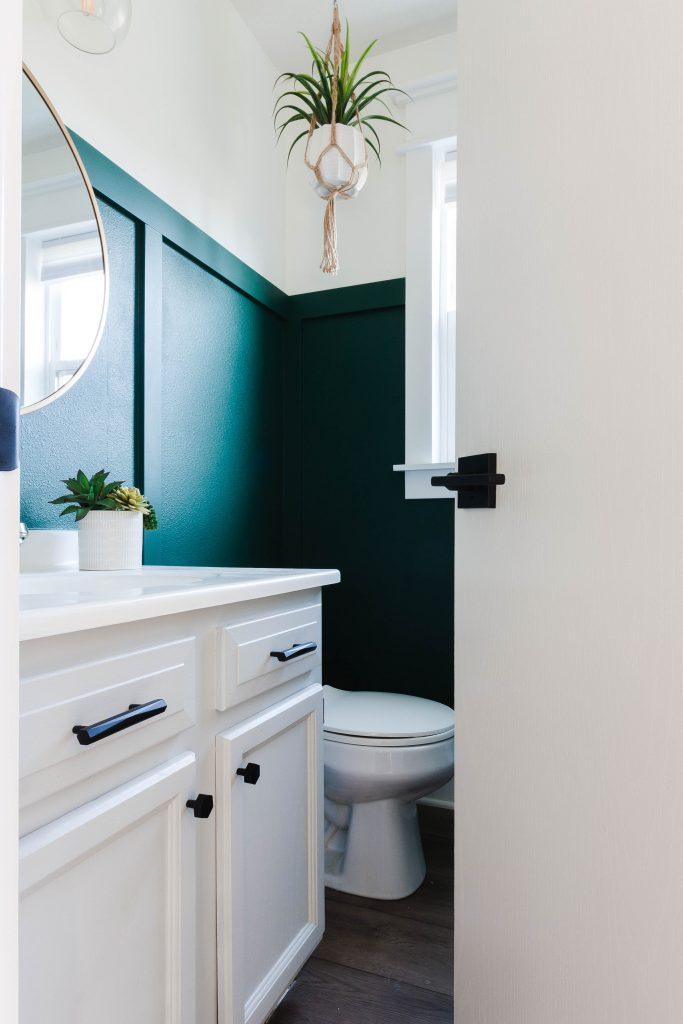 door open to clean bathroom