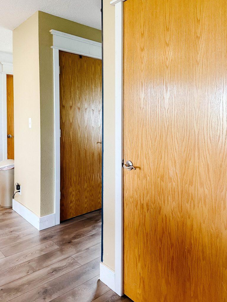 two honey oak interior doors