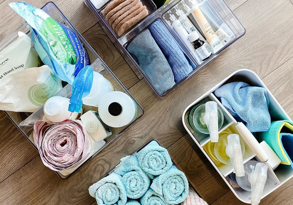cleaning supplies flatlay