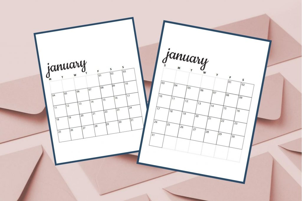 image of pink envelopes with january calendars