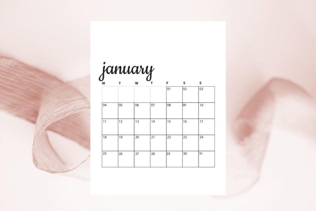 image of pink ribbon with january calendar
