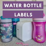 image of kids water bottles and a label maker with text overlay