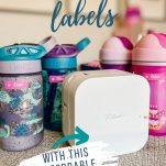 image of kids' water bottles and a label maker with text overlay