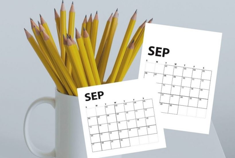 image of mug of pencils with overlay of September calendars