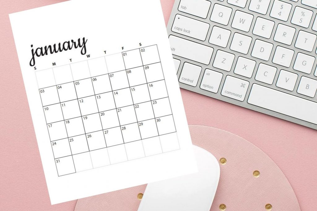 image of desk with january calendar