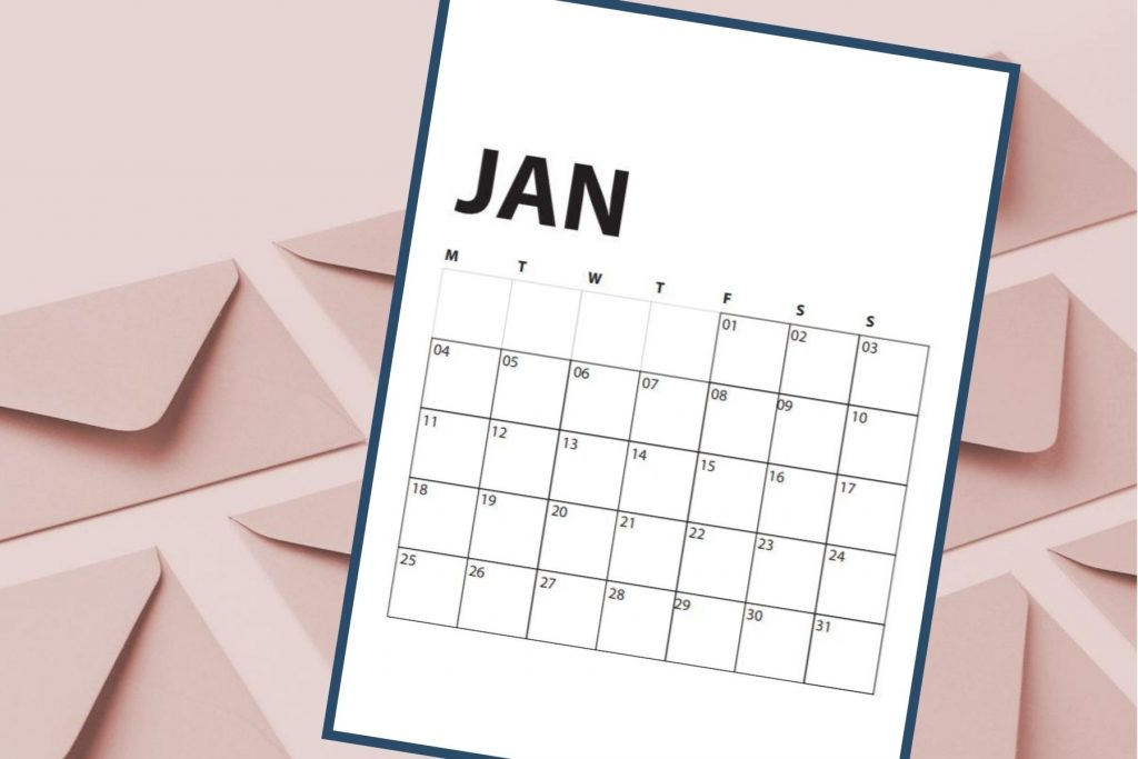 january calendar with pink envelopes