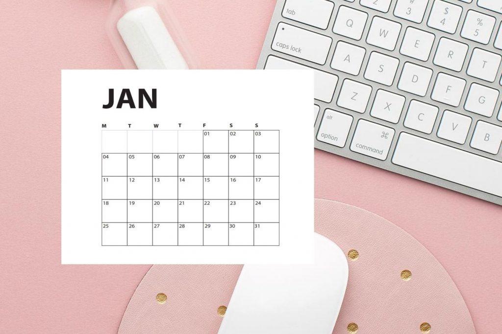desk with january calendar
