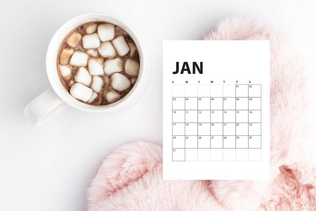 image of slippers and hot chocolate with january calendar